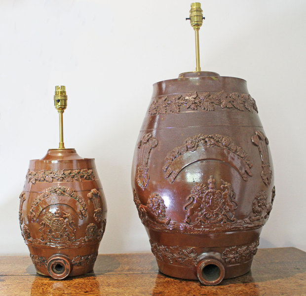 Antique Table Lamps. 2 Stone Ware Spirit Barrel Lamps   Early 19th C
