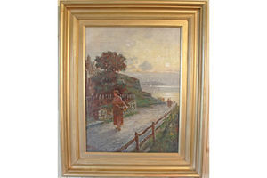 Thumb antique painting oil on canvas caller herrin signed and dated 1912 j h boel 0