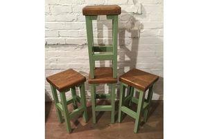 Thumb set of 4 hand painted f b hand made reclaimed solid wood pine kitchen island bar stool a014348e 52b8 477f 95c4 b84df97b0529 0