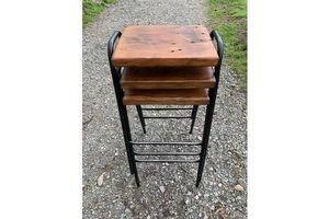 Thumb stackable vintage bar stools deep reclaimed timber seats tubular steel frames fitted with 4 new feet quantity available 1950s united kingdom of great britain and northern ireland 0