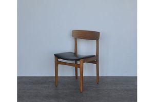 Thumb vintage retro mid century danish style teak leatherette chair 0