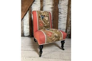 Thumb pretty antique victorian tapestry upholstered occasional or bedroom chair 0