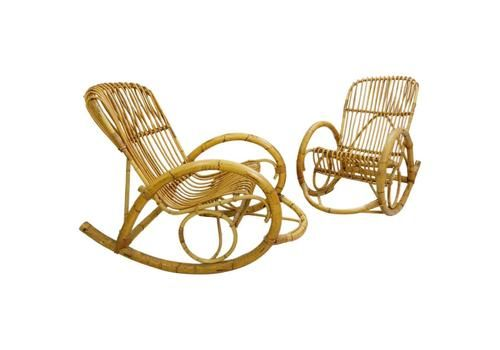 Rattan Rocking Chair By Rohe Noordwolde, A Pair Available