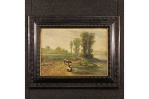 Thumb french signed bucolic landscape painting unknown 0