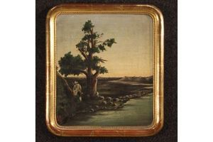 Thumb italian painting landscape with hunter from 19th century unknown italy 0