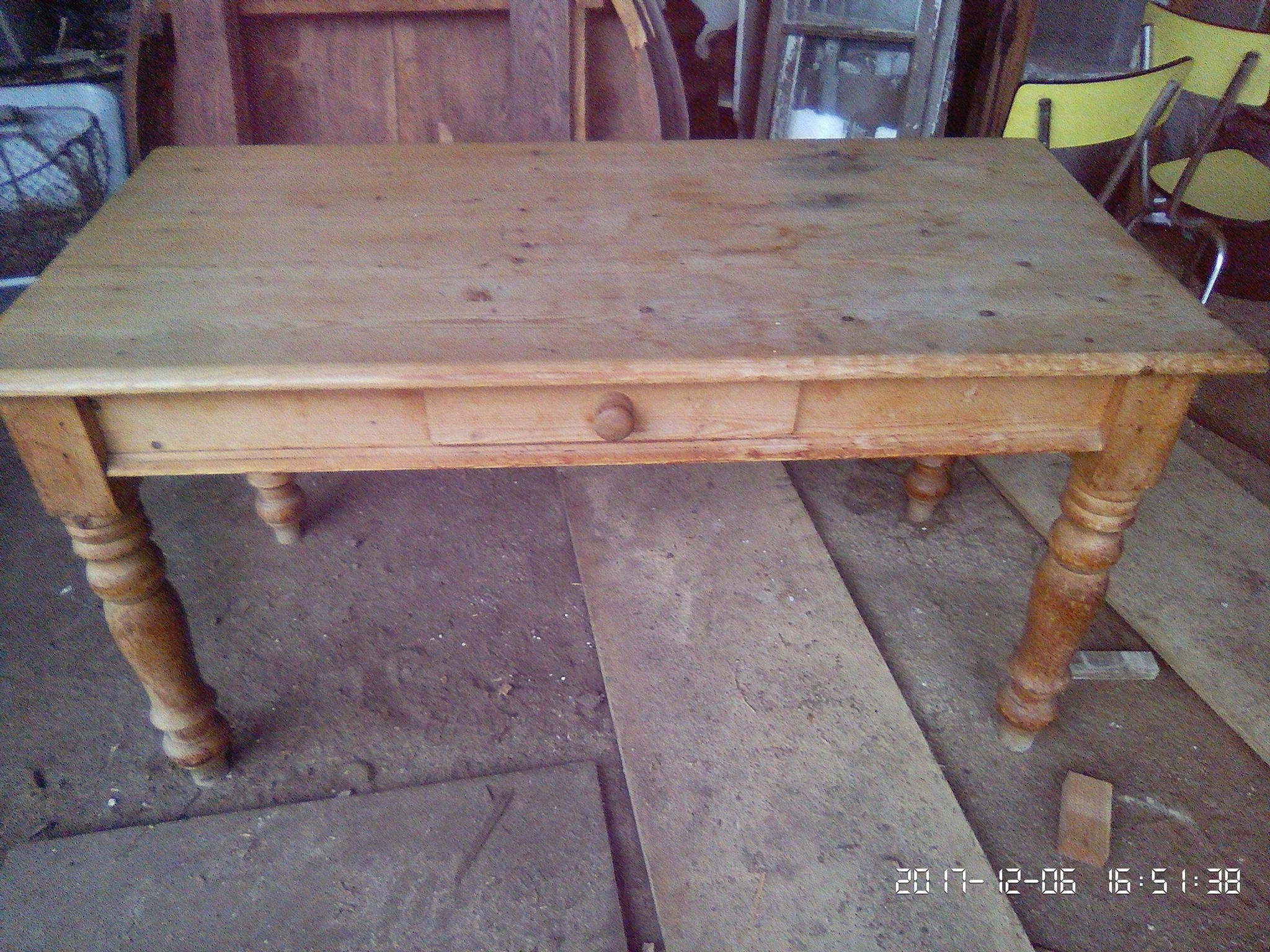 Vintage Chunky Pine Farmhouse Kitchen Dining Table With Drawer Collect From Us Or Ask For Courier Quote