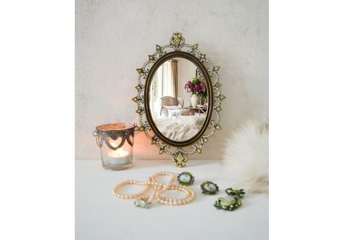 Vintage Solid Brass Mirror Tray, Gold Ornate Oval Diamante Vanity Tray, Brass Ornate Hanging Mirrored Tray