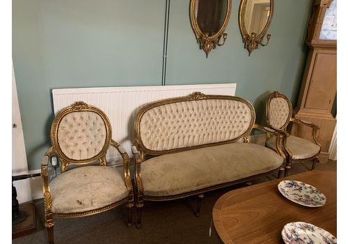 Antique French Gilt Three Piece Suite