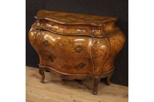 Thumb venetian chest of drawers in walnut burl maple and beech 1950s 0