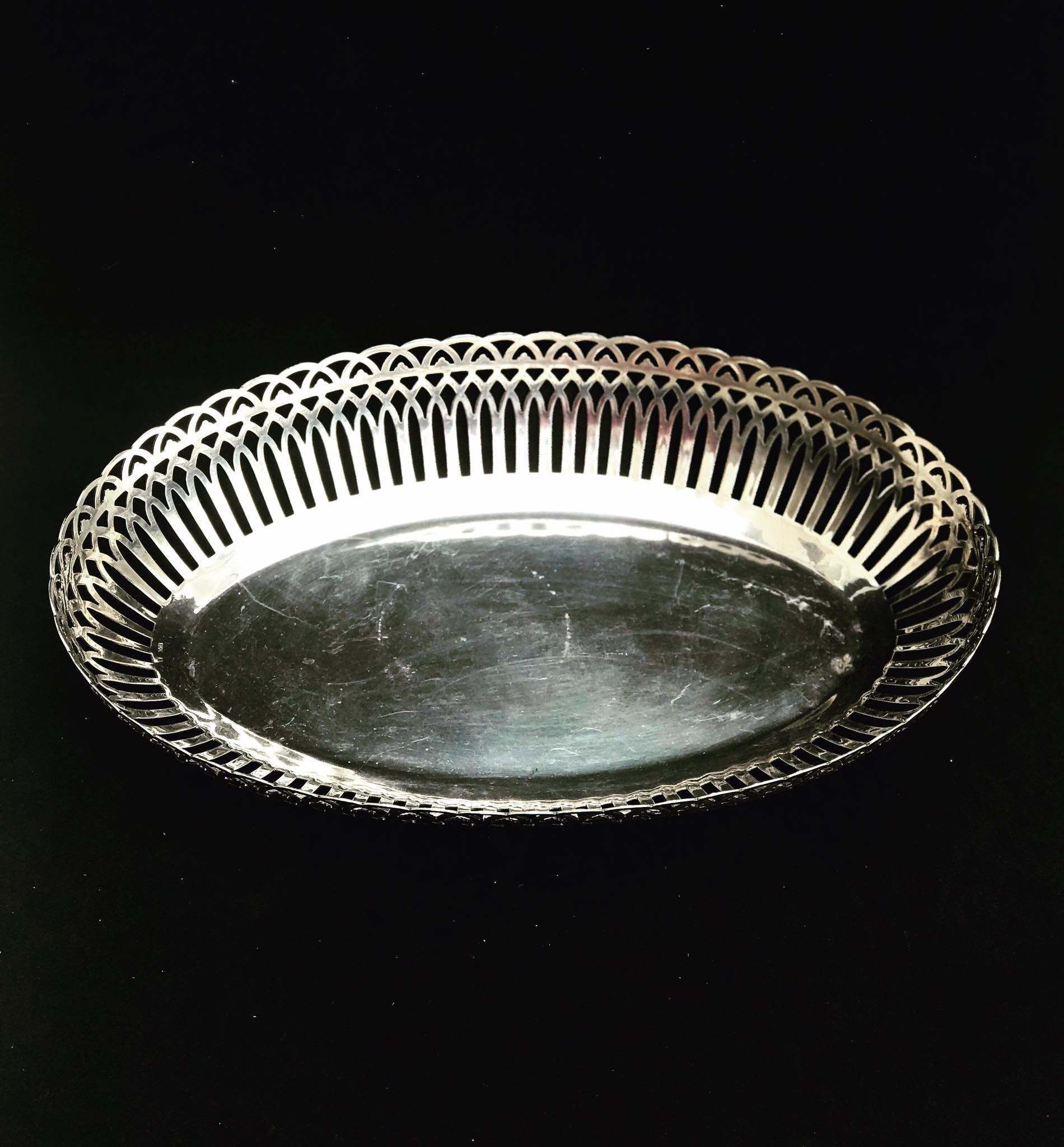 Bread Basket Serving Tray Fruits Serving Plate Silver Plated Antique Vintage Table Gift For Her Wedding Gift J G Brown Vinterior