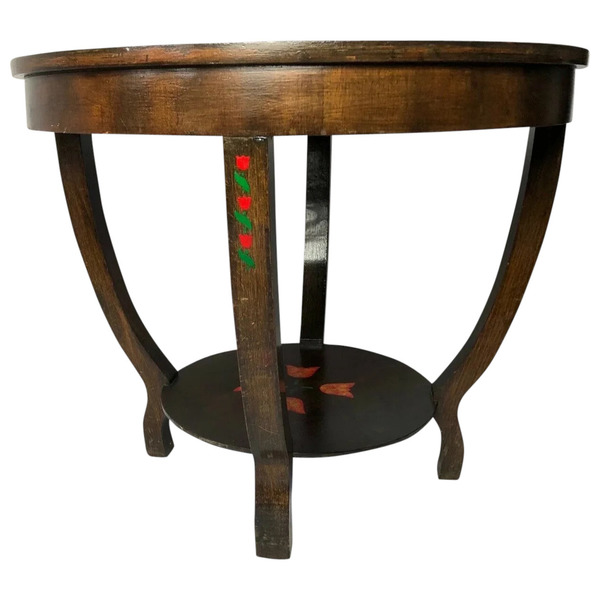vintage small fine mid 20th century french round cherrywood paris roses coffee table handmade vinterior