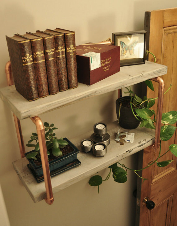 Small Double Shelf Handmade From Copper Pipe And Reclaimed Wood