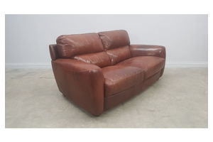 Thumb vintage two seat brown leather sofa couch 0