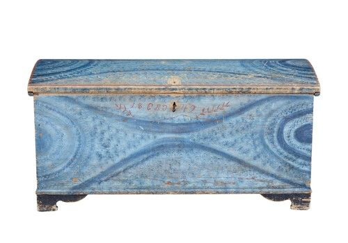 Mid 19th Century Swedish Folk Art Hand Painted Pine Coffer