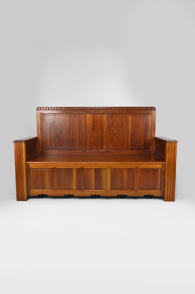 Art Deco French Mahogany Hall Chest Bench By Goyeneche Clément, 1930s