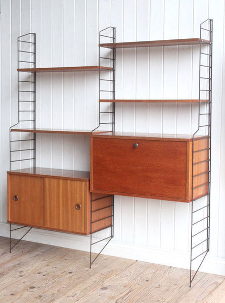 56ac483c2834 SOLD. photo furniture Vintage Retro Modular Wall Mounted Double Bay Shelving  Unit String ...