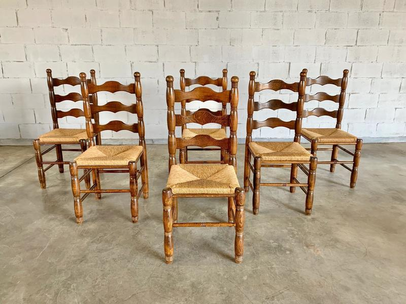 Rare Antique French Ladder Back Dining Chairs With Rush Seats Set Of 6 Unknown Vinterior