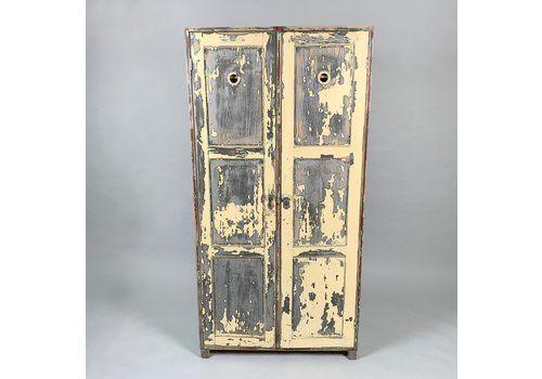 Vintage Wooden Wardrobe, Original Paint, 1930's