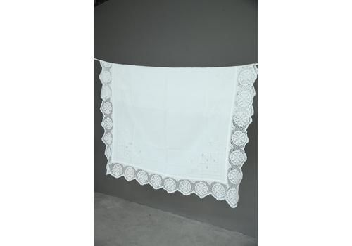 Stunning Vintage White Linen Tablecloth