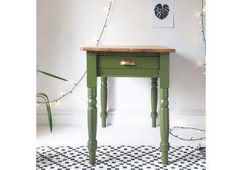 Victorian Farmhouse Pine Kitchen Table & Drawer