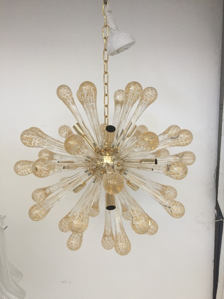 Sputnik Chandelier Murano Glass Transparent And Gold