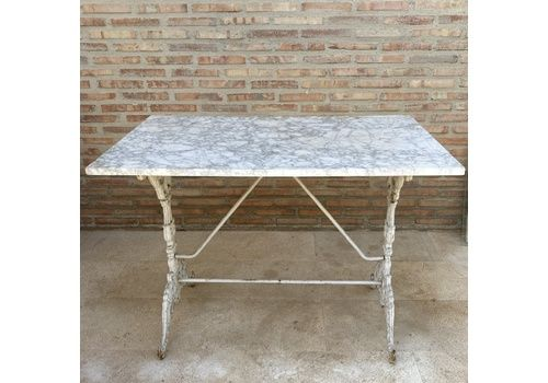 19 Th Century French Marble Top Cast Iron Garden Table