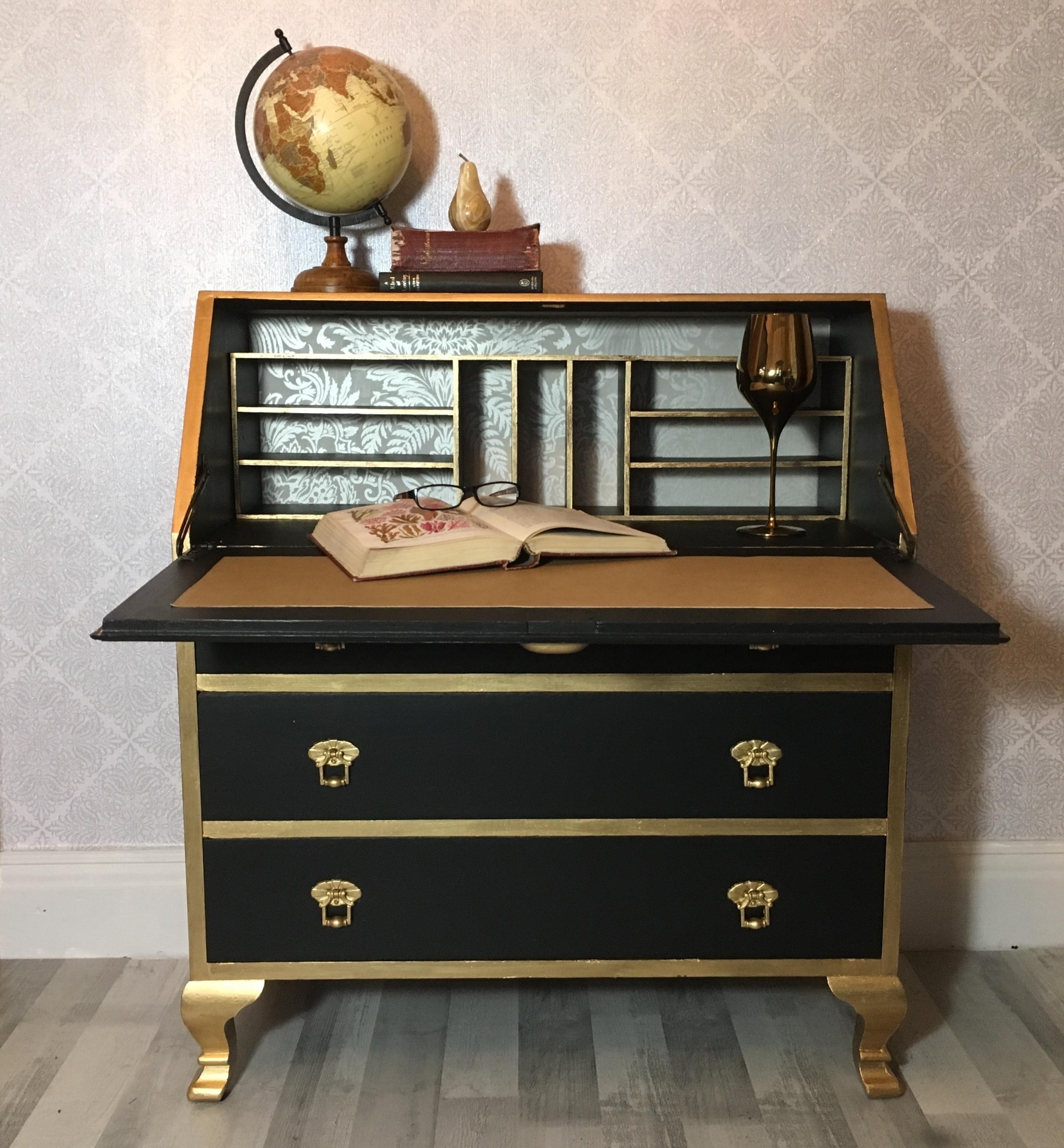 Ongekend Vintage Writing Desk,Vintage Writing Bureau,Black And Gold Vintage BQ-08
