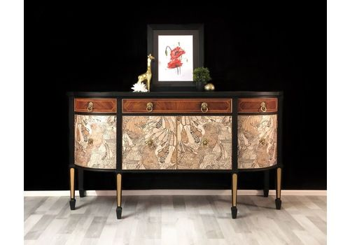 Sideboard, Drinks Cabinet, Cocktail Cabinet, Painted Black And Gold With Decoupage Front, Buffet, Server