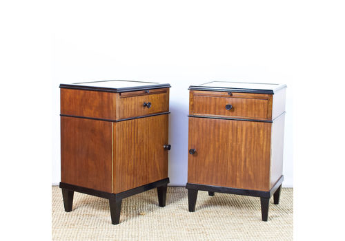 Continental Pair Of Art Deco Bedside Cabinets
