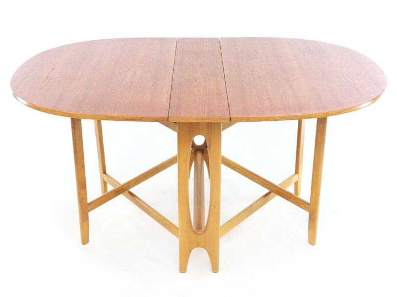 Teak Bendt Winge Space Saver Drop Leaf Mid Century Dining Table Vinterior