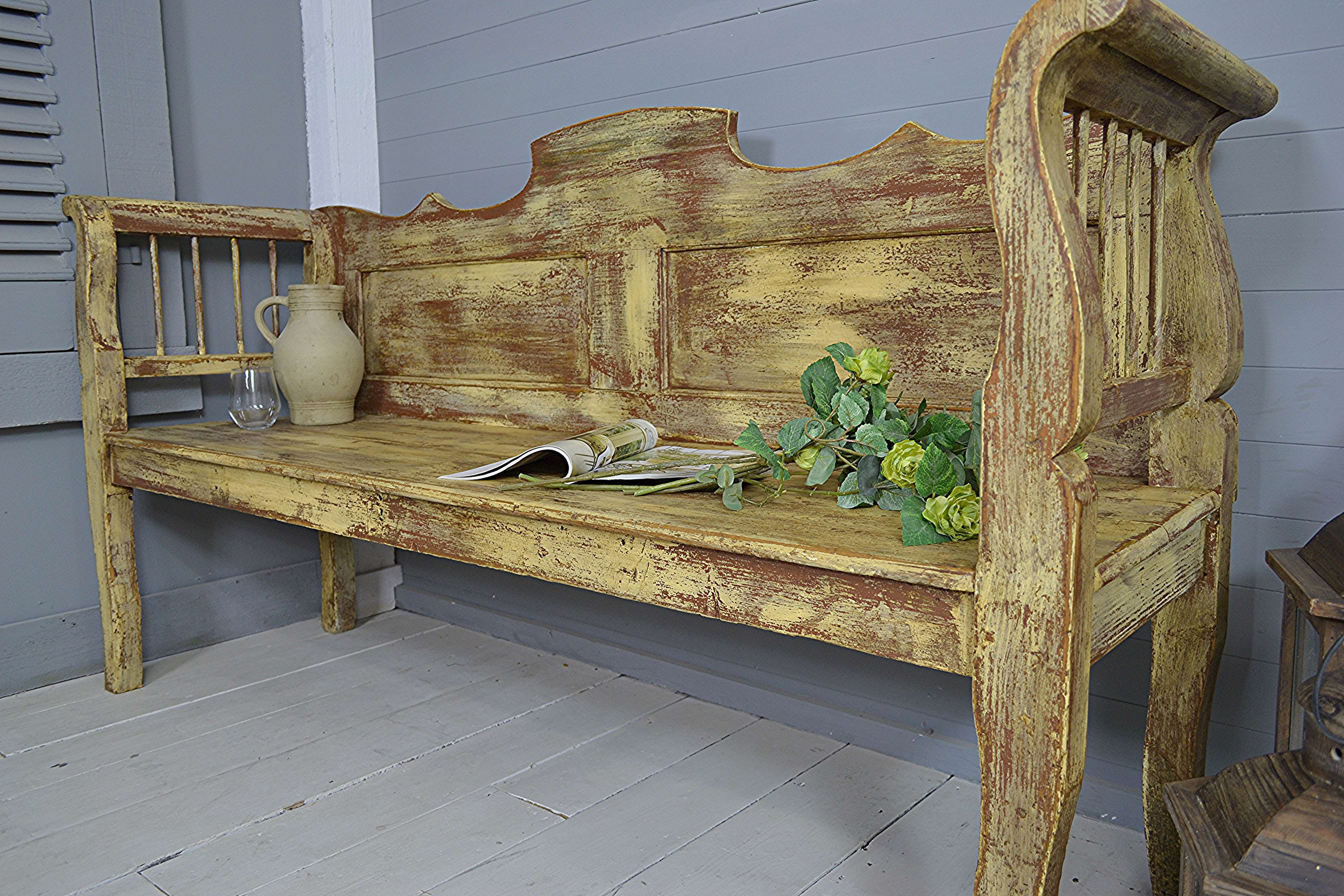Superb Rustic Vintage Hungarian Shabby Chic Bench Seat Yellow Brown Ncnpc Chair Design For Home Ncnpcorg