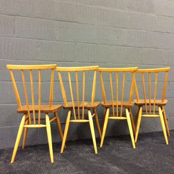 Set Of 4 Early Ercol Windsor 391 Elm & Beech Kitchen / Dining Chairs No1