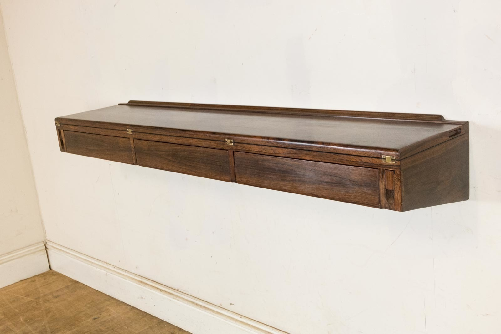 stunning danish vintage retro rosewood floating desk by arne hovmand olsen 0