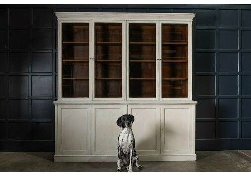 19th C Large Oak Painted Glazed Bookcase