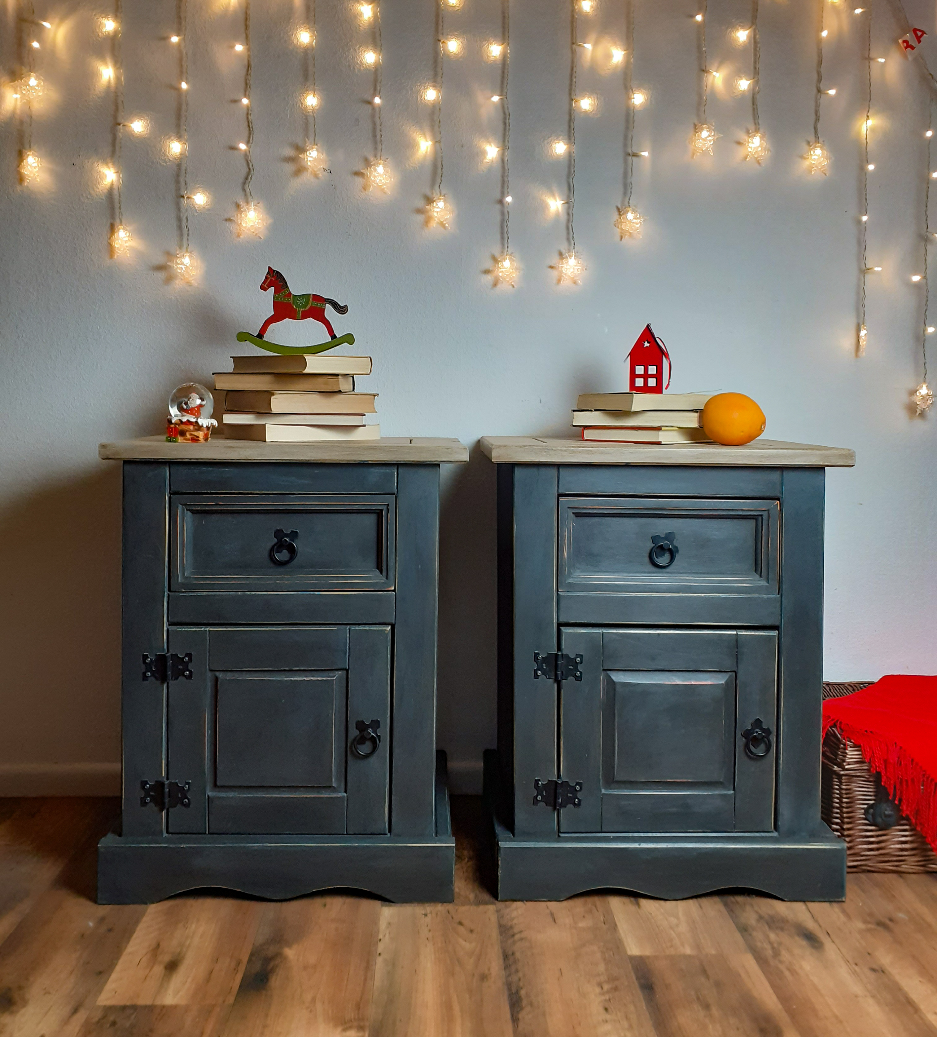 Grey Bedside Cabinets Nightstands Set Of Cabinets Country Farmhouse Furniture Mexican Corona Vinterior