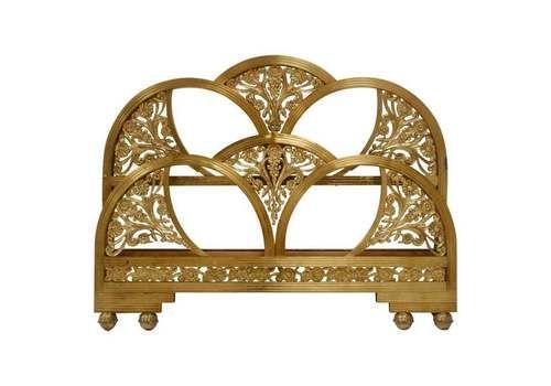 Art Deco Golden Metal Double Bed, Spain, 1930s