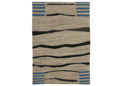 Handmade Oriental Wool Beige Kilim Rug