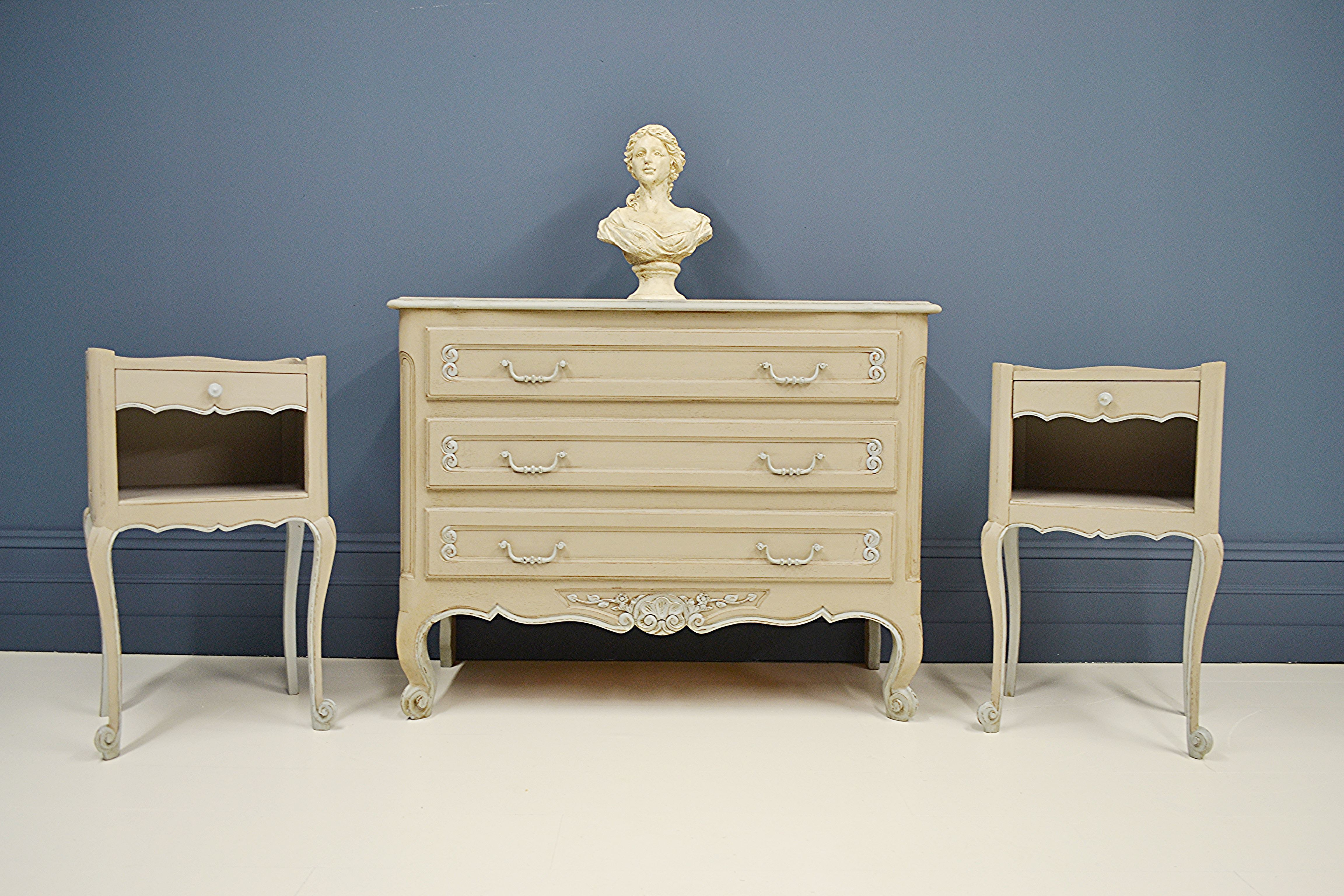 Vintage French Chest Of Drawers Bedside Table Bedroom Set Blue Grey Vinterior