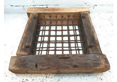 Antique Old Reclaimed Indian Wooden Iron Jali Window Frame Mirror Garden