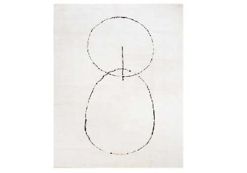 Abstract Carpet In Black And White, Handmade In Hemp