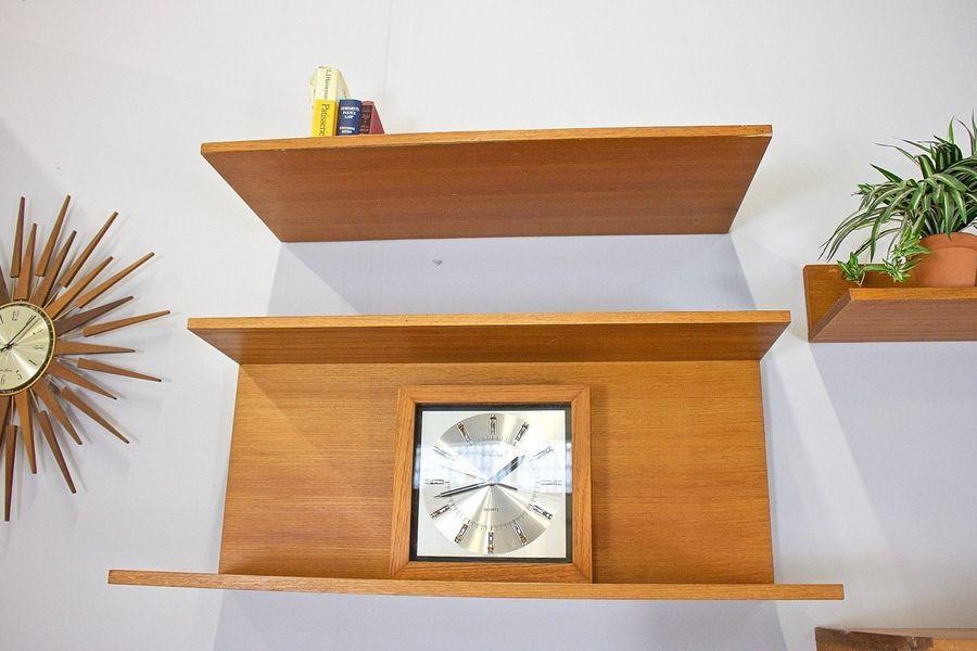 large mid century danish style teak beaver tapley desk wall unit floating shelving 0