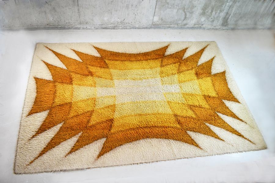 1970's French Large (2m X 3m) Decorative Woollen Carpet