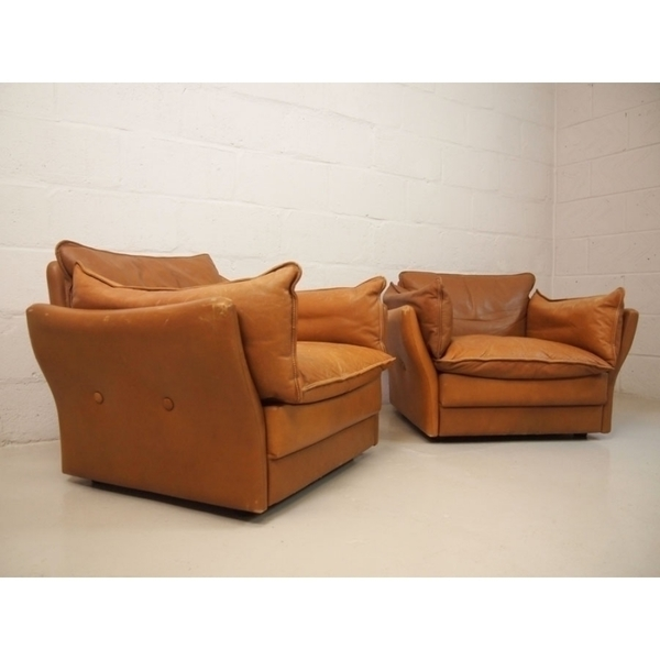 Pair Of Light Tan Danish Leather Lounge Chairs photo 1