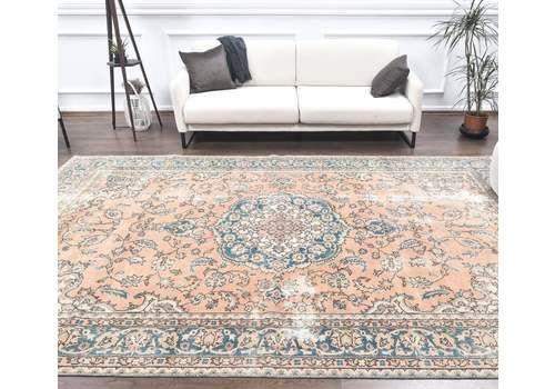 7x11 Persian Vintage Carpet, Orange Oriental Oushak Handmade Wool Rug, Large Area Rugs, Farmhouse Decor, One Of A Kind, Boho Decor
