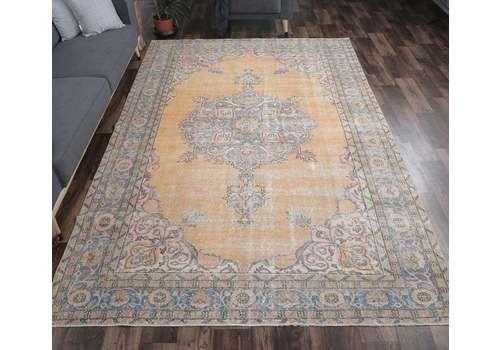 7x10 Orange Heriz Persian Vintage Carpet, Oushak Handmade Wool Rug, Large Area Rugs, Farmhouse Decor, One Of A Kind, Oriental