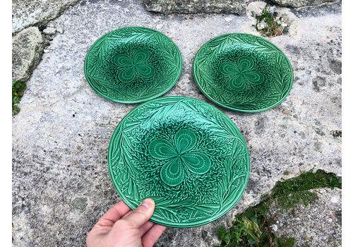 Trio Of Antique Green Majolica Cake Side Plates