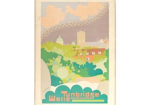 Original Vintage 1931 Royal Tunbridge Wells Travel Poster Uk British London Transport Underground Train Railway Norwich 1930s Art Deco