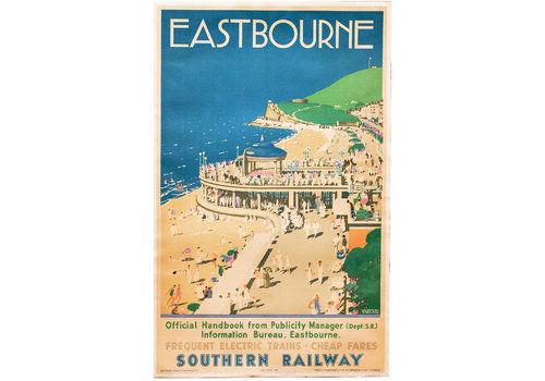 Original Vintage Eastbourne Southern Railway Travel Poster   1938   London Transport Underground British Railways Gwr Lner Lms Linen Backed