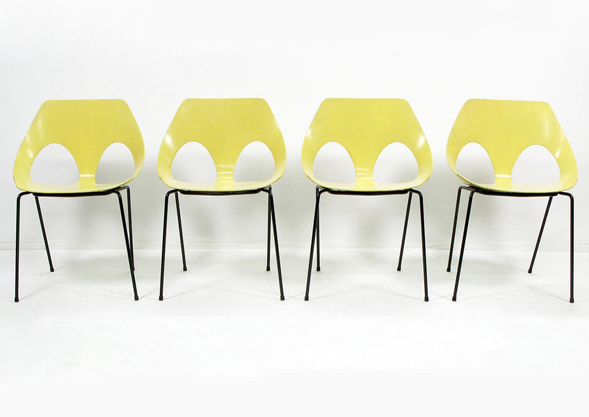Set Of 4 Frank Guille For Kandya Jason Yellow Chairs photo 1