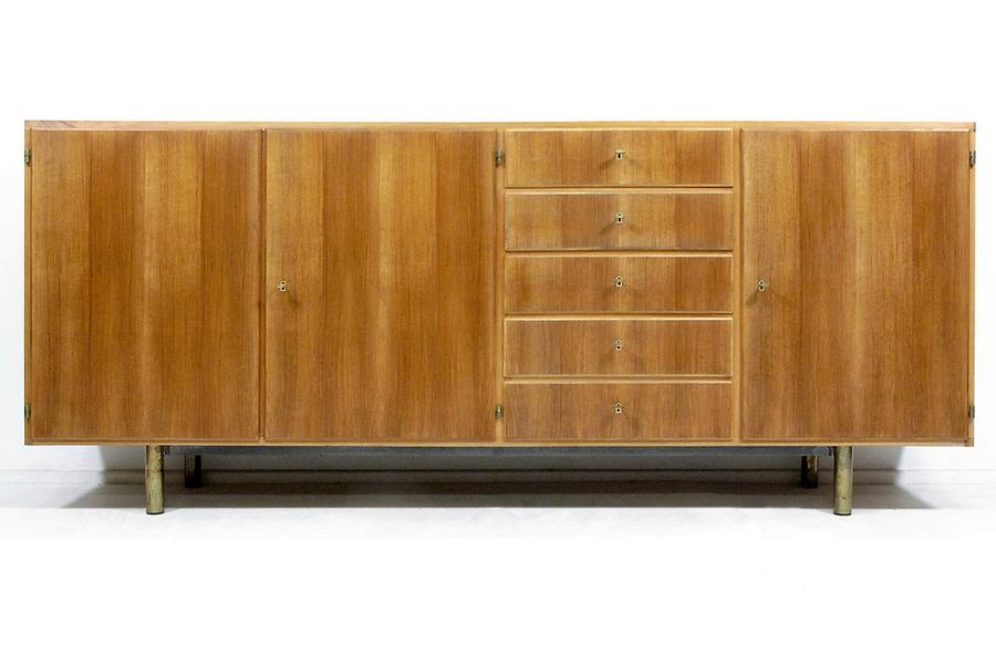 German 1950s Modernist Sideboard In Walnut